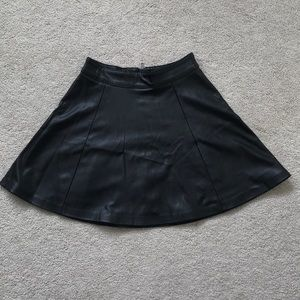 Faux Leather H&M Skater Skirt